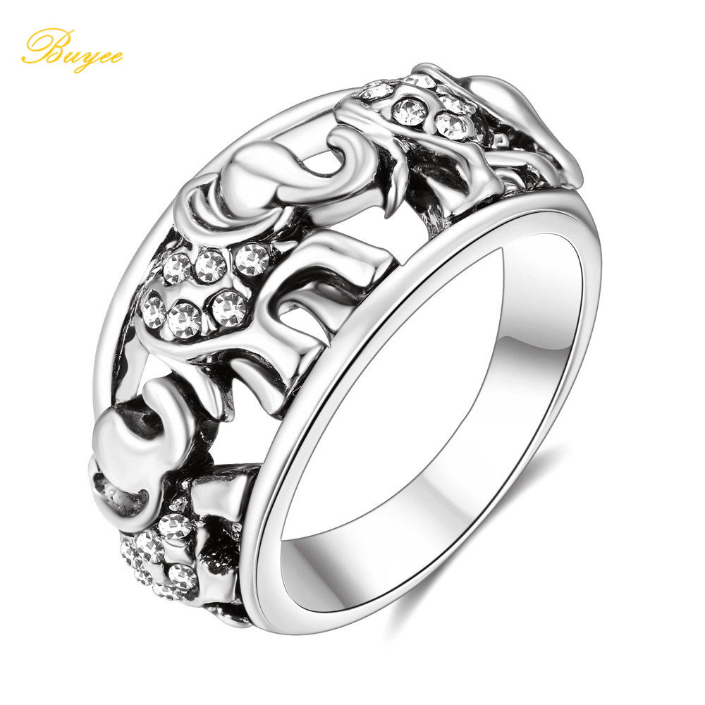 with march out caravan products exquisite family around thai elephants details this sterling khun o the of elephant rings pr silver design ring showcasing engagement was band plain stunning by aeravida crafted cut