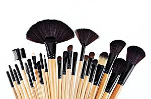 Sping Professional Cosmetic Brush Set 24 Piece Makeup Brush Set with Premium Synthetic Hair Wooden Handle Cosmetic Makeup Brush kit (Yellow)