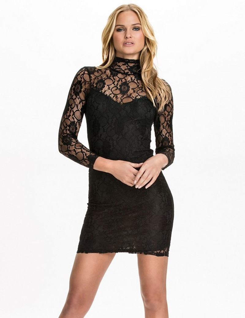 R79994 Top selling long sleeve lace neck dress 2015 high quality midi solid  plus size women clothing new style bodycon dress