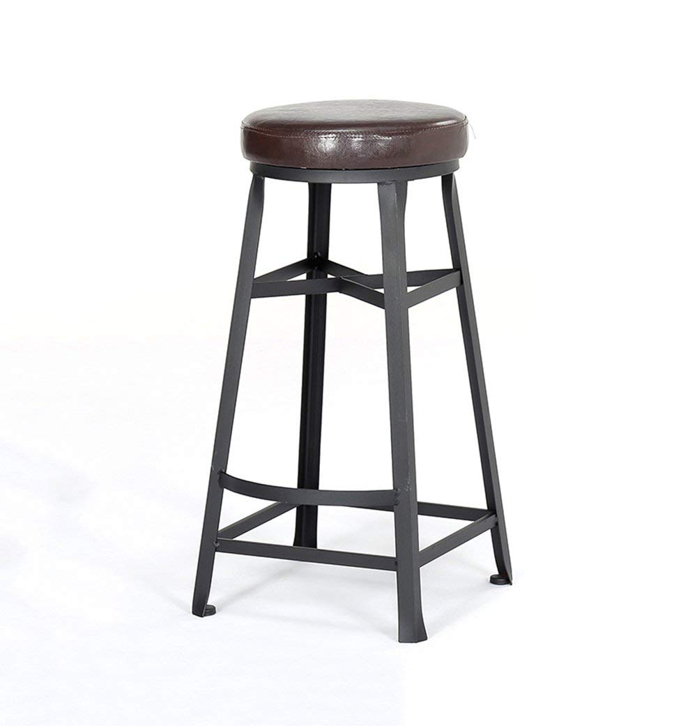 Round Bar Stools Bar Kitchen Breakfast Stool Dining Chair Wood/PU Seat Bar Chair High Stool Counter Chair for Family and Business (Color : B)