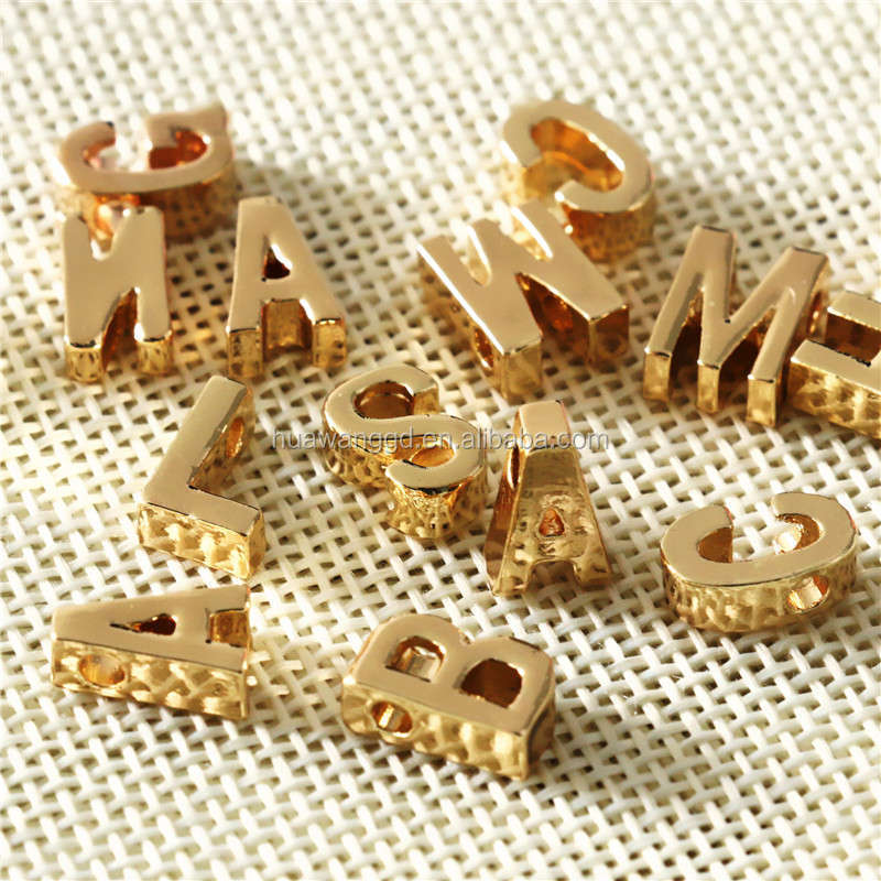 Free shipping by DHL plain gold plated alphabet dangle for necklace jewelry