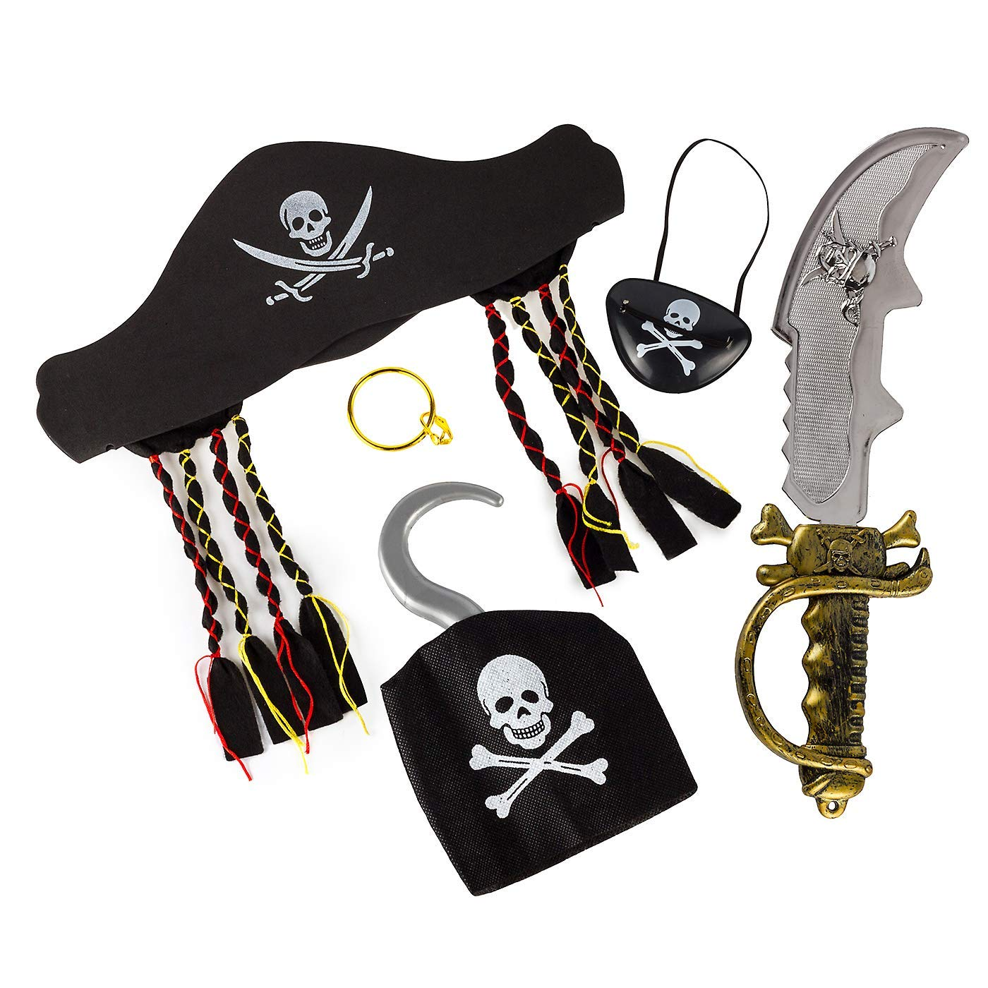 Halloween Pirate Costume Accessory Set (5pcs) Include Pirate Hat Sword Ear Ring Hook and Eye Patch