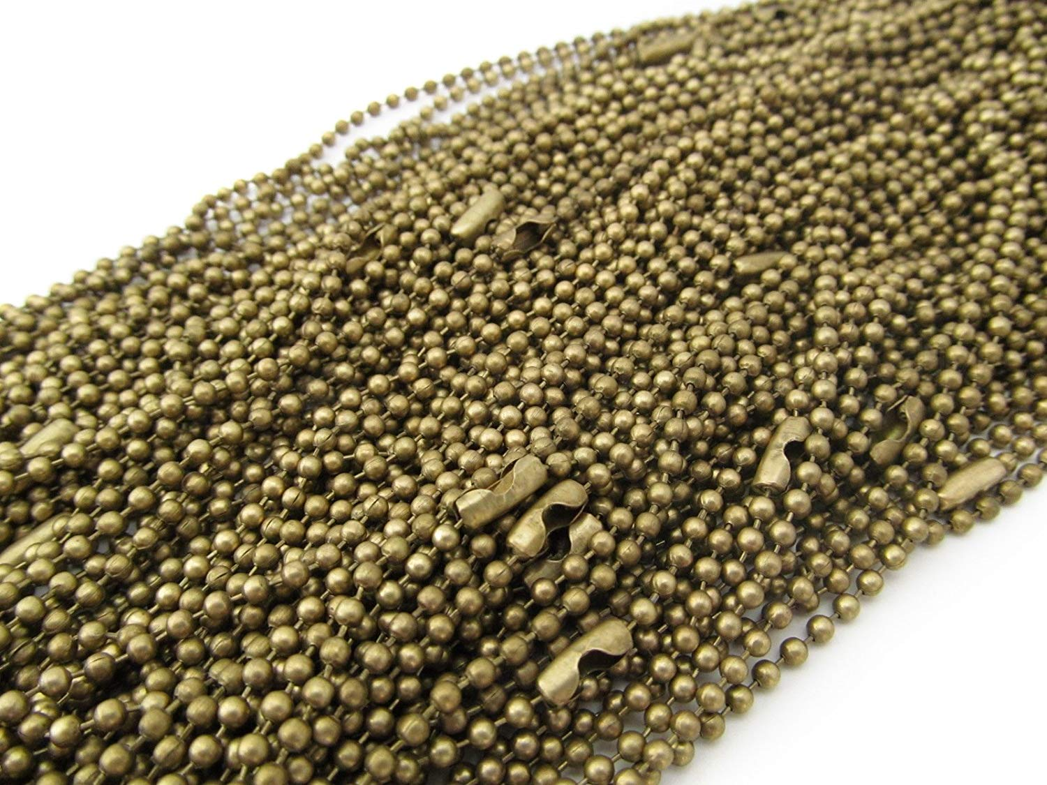 """50 CleverDelights Ball Chain Necklaces - Antique Bronze Color - 24 Inch - Jewelry Findings - 2.4mm Ball - Adjustable Antiqued Necklaces - 24"""" Length"""