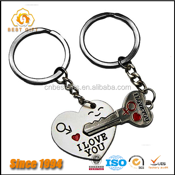 Promotional gifts key and heart zinc alloy couple keychain