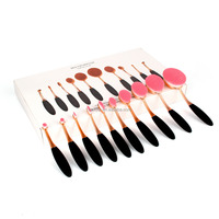 Manufacturers 10 Pcs Soft Oval Toothbrush Cosmetics Black Makeup Brush Set with Box