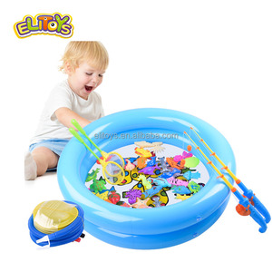 Fishing game toy funny magnetic fishing toy fishing bath toy for kids with pond