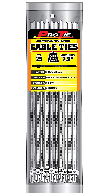 Pro Tie B8FTPM25 8-Inch Fir Tree Push Mount Cable Tie UV Black Nylon 25-Pack