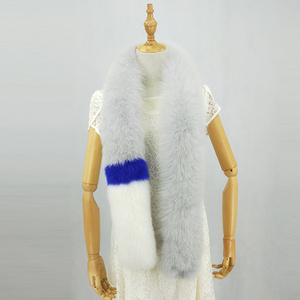 wholesale beautiful ladies extra long fox fur grey white blue scarf