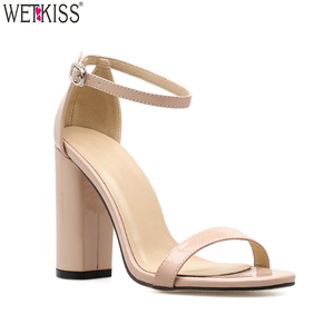Simple Design Lady Summer Ankle Strap Sandals Thick High Heel Rubber Sandals