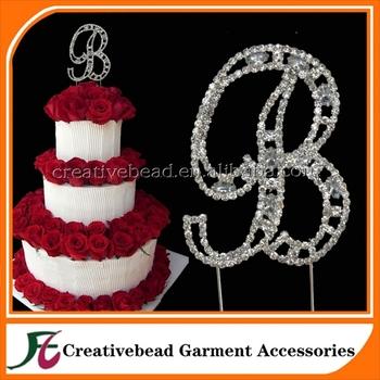 2015 handmade rhinestone cake topper stick alphabet letter b diamante monogram for wedding birthday party decoration