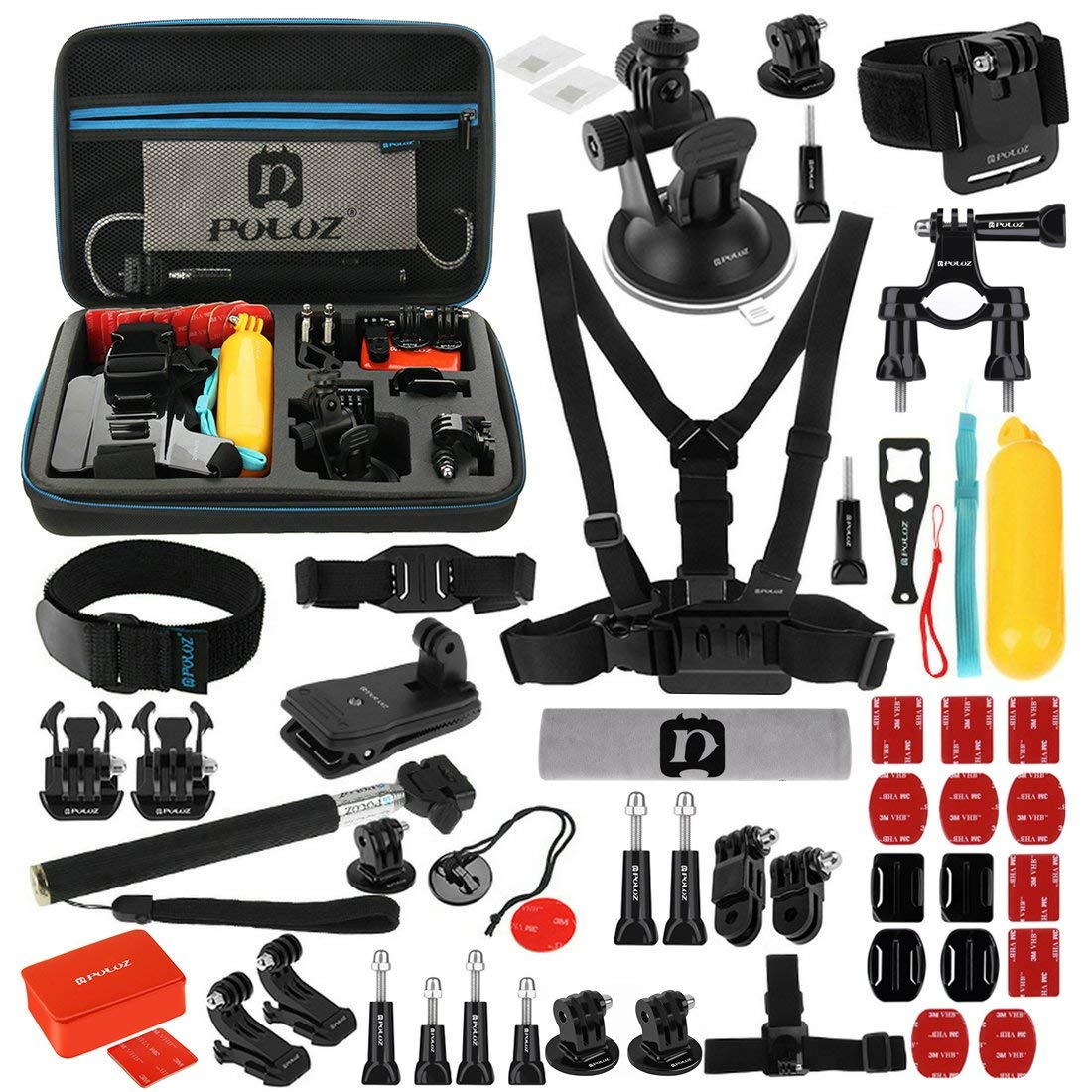 PULUZ 53 in 1 Camera Accessories Kits ( Suction Cup Mount+ Chest& Wrist& Helmet Strap+ Monopod+ Tripod Adapter+ Handlebar) for GoPro HERO6/5/4/3+/3/2/1, Xiaoyi & Other Action Cameras (Black)