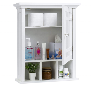 NO.4456-2   Best Choice Products Home Bathroom Vanity Mirror Wall Organizational Storage Cabinet - White