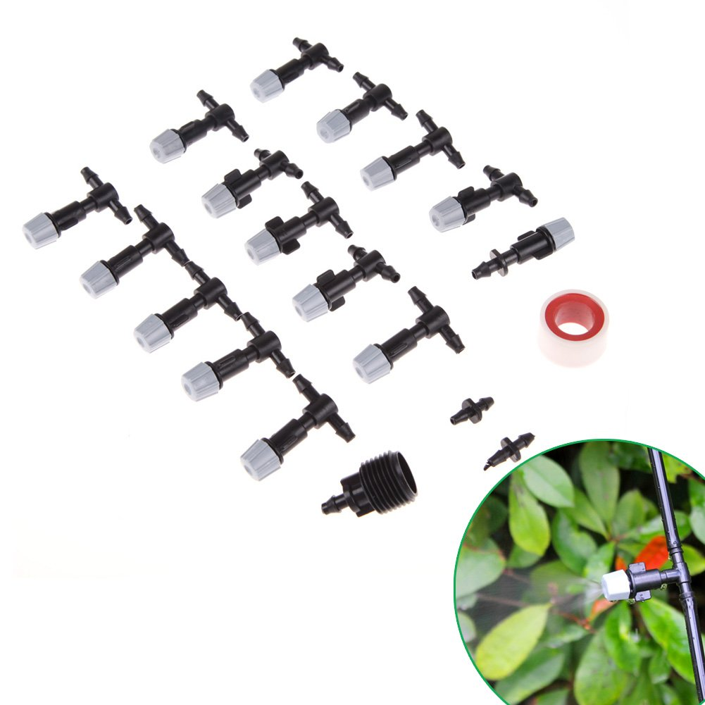 Easydeal 10M/33FT Outdoor Patio Garden Balcony Micro Misting Cooling System w/ 15PCS Spray Mist Nozzles