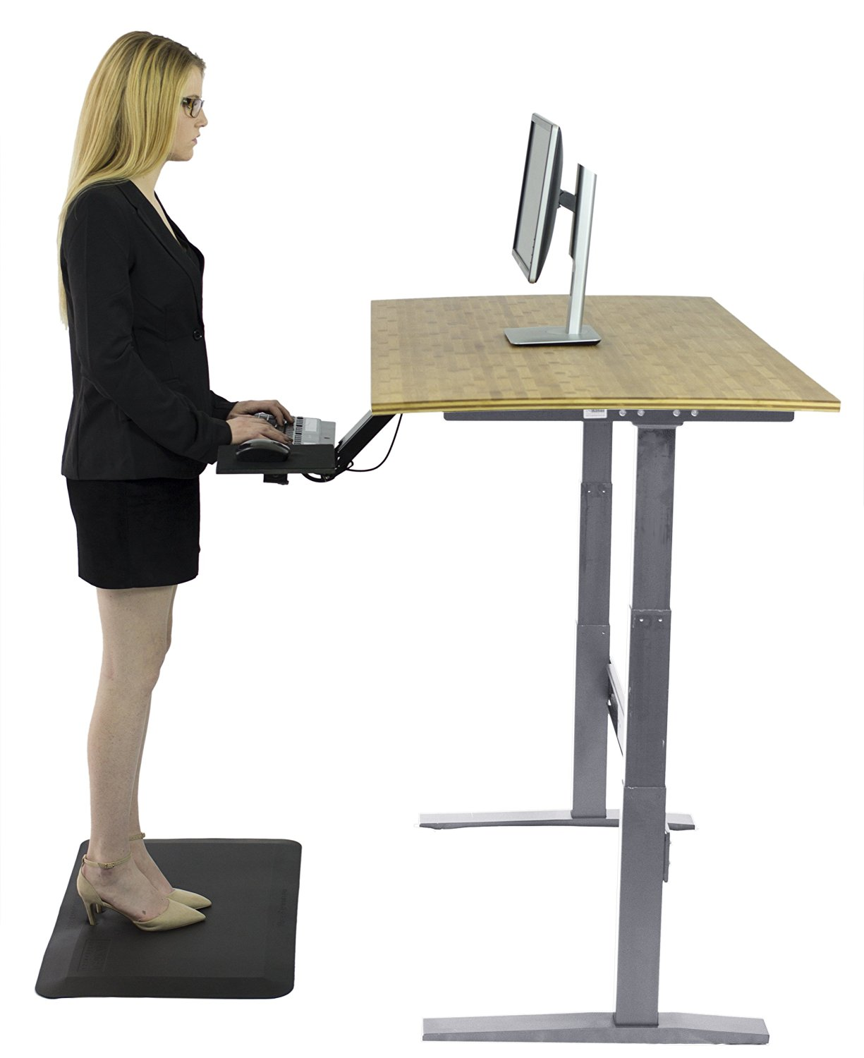 RISE UP   Electric Adjustable Height Standing Desk W/ Beautiful Real Bamboo  Desktop | Affordable