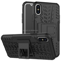 High quality tire pattern TPU+PC protective camera with attached bracket cell phone case for iphone 8