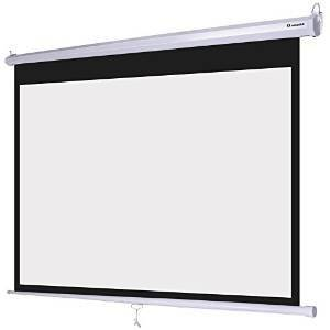 """72 Inch 16:9 Ratio Manual Pull Down Projection Screen Wall Ceiling Self-Locking Diagonal 63"""" x 35"""" Matte White Surface for Presentation Meeting Seminar Office Class Room"""