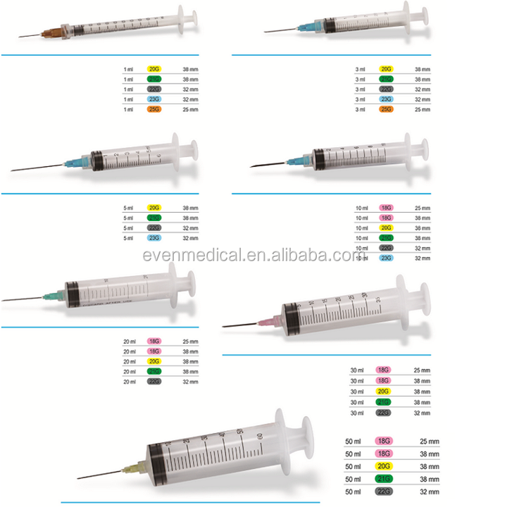 1ml 2ml 2.5ml 3ml 5ml 10ml 50ml 60ml Disposable Syringes Without Needle