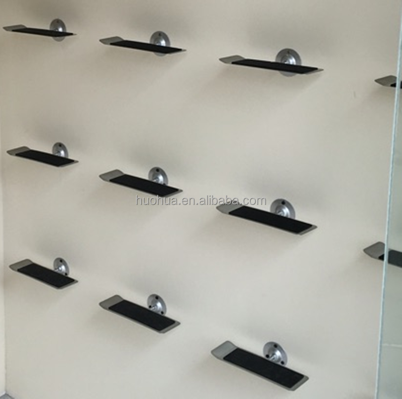 huohua modern appearance easy assembly wall mounted shop retail shoe rack <strong>display</strong>