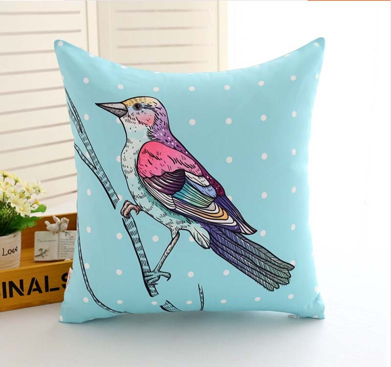 custom print cute 100%cotton throw pillow /birds design colored print sofa cushion cover