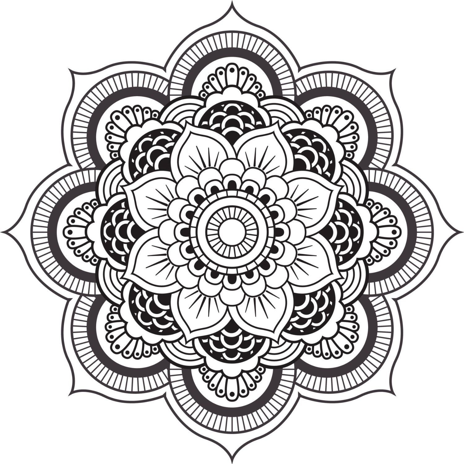 Buy Detailed Mandala Design Black White Vinyl Decal Sticker Two In