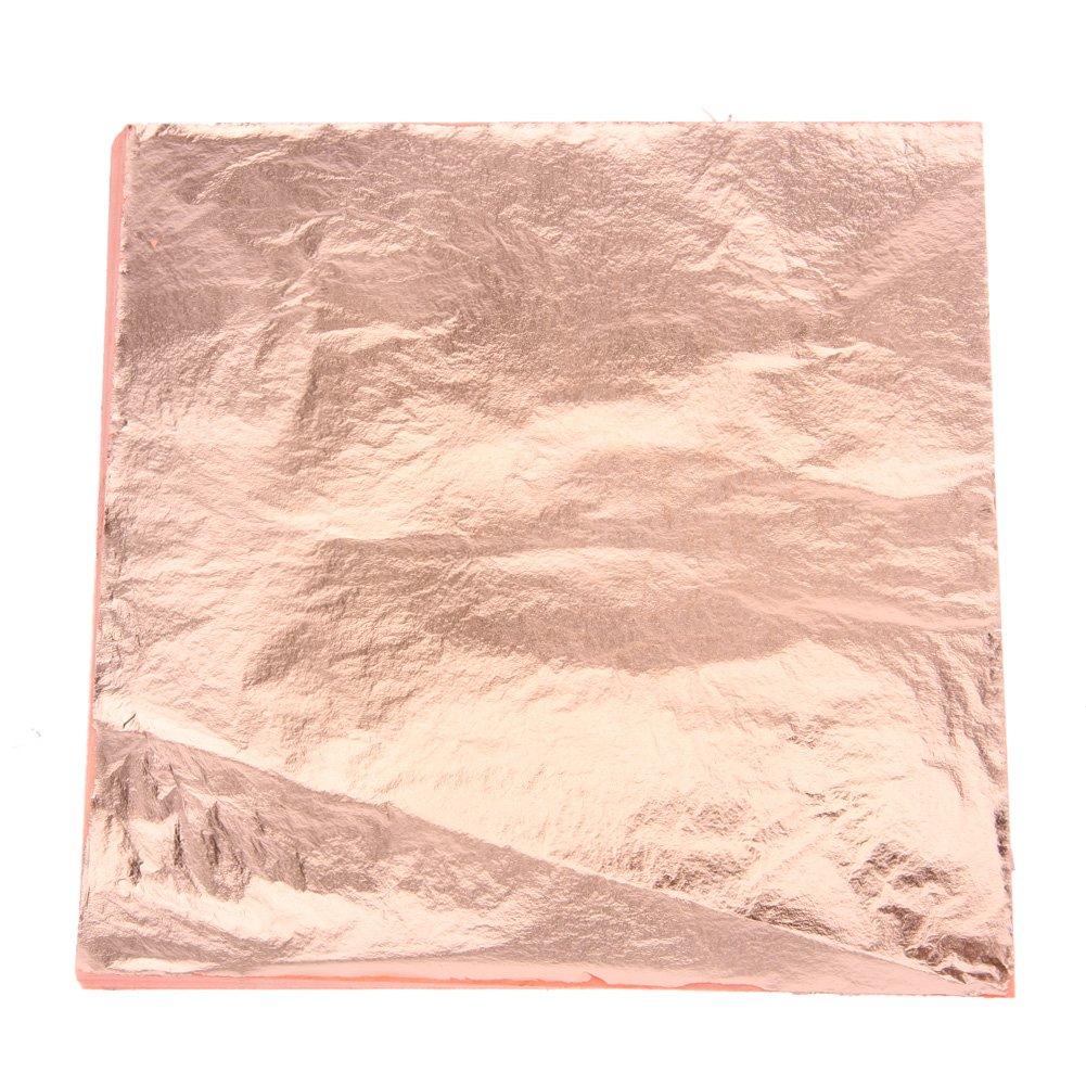 Awakingdemi 100pcs Gold Sliver and Copper Foil Leaf Leaves Sheets Foil Paper for Gilding Art Craft Decor(5.51 X 5.51inch) (Copper)