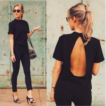 Women Summer Clothes new Cute Women Blouse Fashion black Open Back Sexy tops short Sleeve Shirt