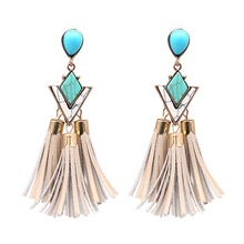 Wholesale Beaded Jewelry Long Silk Thread Colorful India Pearl Tassel Earring Woman