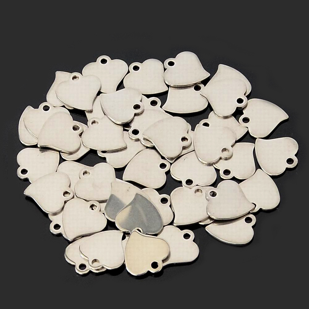 100PCS/pack wholesale 12*12MM Heart charms pendants for diy necklace stainless steel heart shape charms for jewelry making