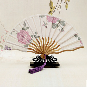 colorful custom printed folding bamboo rainbow wooden hand fan