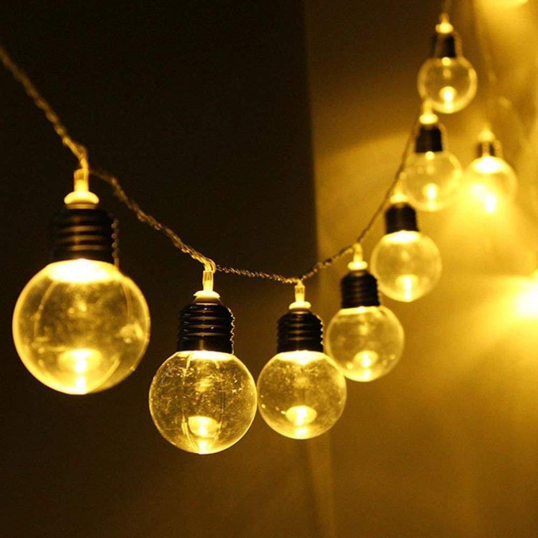 Yezijin LED Solar Powered String Light Bulb String Lamp Beads Wedding Fairy Decor (C)