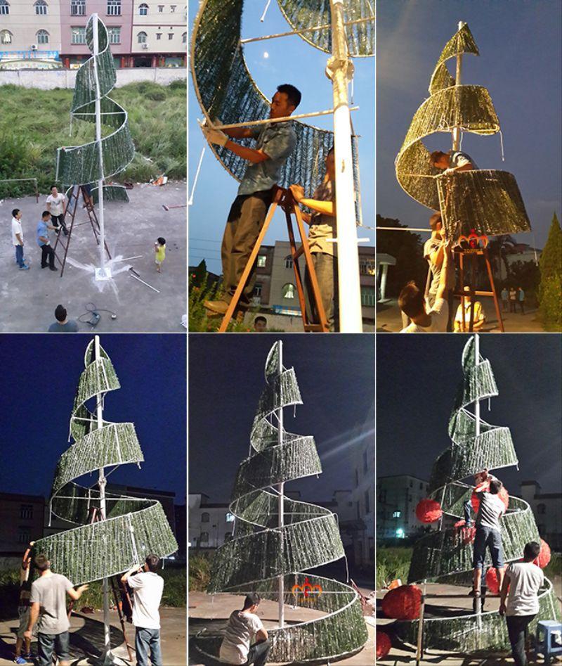 Pre Lit Outdoor Led Light Cone Tree Ribbon Christmas Tree