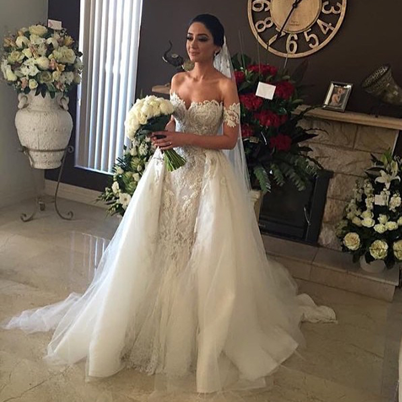 Beaded Wedding Dress With Detachable Train: 2015 Middle East Wedding Dress With Detachable Train Lace
