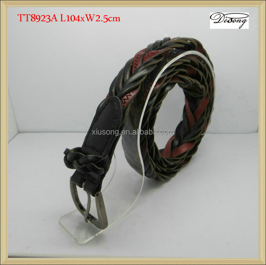 TT8923 Fashion coloured elastic fabric braided belts wide woven belts