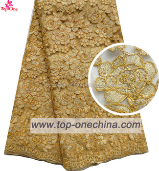 Gold Color Flower Lace Fabric 3d Embroidery Lace For Wedding Lady