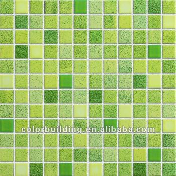 Green Mixed Ceramic Wall Tiles Kitchen Solid Color Wall