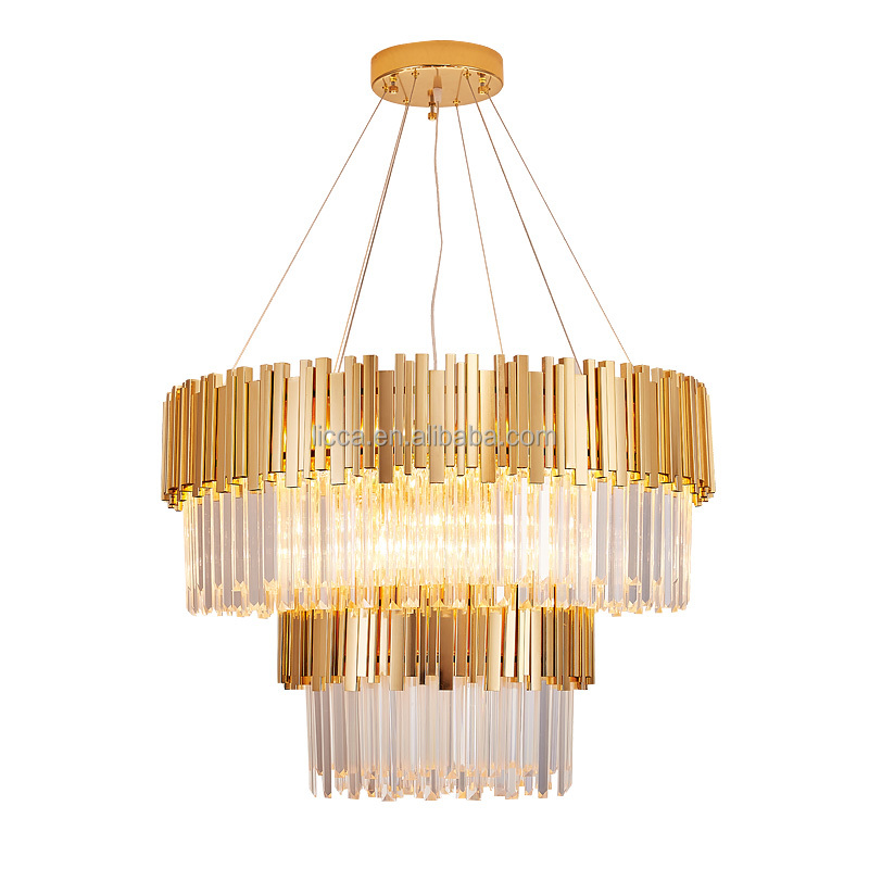 Post Modern gold K9 LED crystal chandelier Luxury gold LED round pendant crystal lamp for home