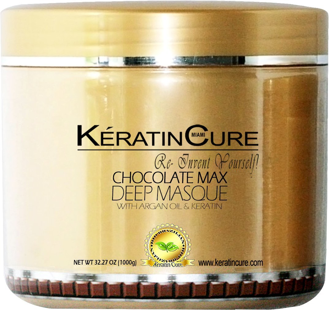 KERATIN CURE - Deep Hair Reparation Masque 1000 g / 32 Oz Chocolate Max with Argan Oil - Shea Butter Conditioning Moisturizing Hair Treatment