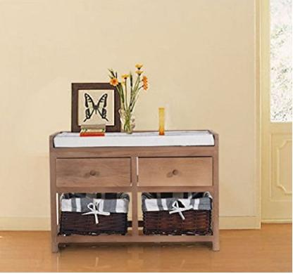 Wooden Storage Bench Seat Hallway Bathroom Wicker Cabinet Chest Basket 2 Drawers