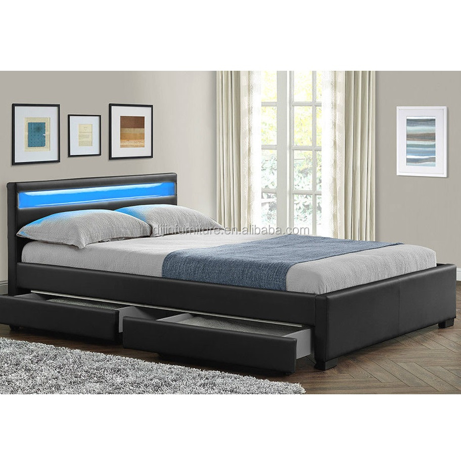 wholesale dealer 1ae85 b2671 Double King Size Bed Frame With 4 Drawers Storage Led Headboard - Buy King  Size Bed Frames,King Size Slat Bed Frame,King Size Leather Bed Frame ...