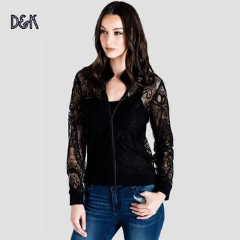 Aria Women Peek-A-Boo Sexy Elegan Business casual sporty Black Lace Lady Spring Zipper Jacket Coat For Women