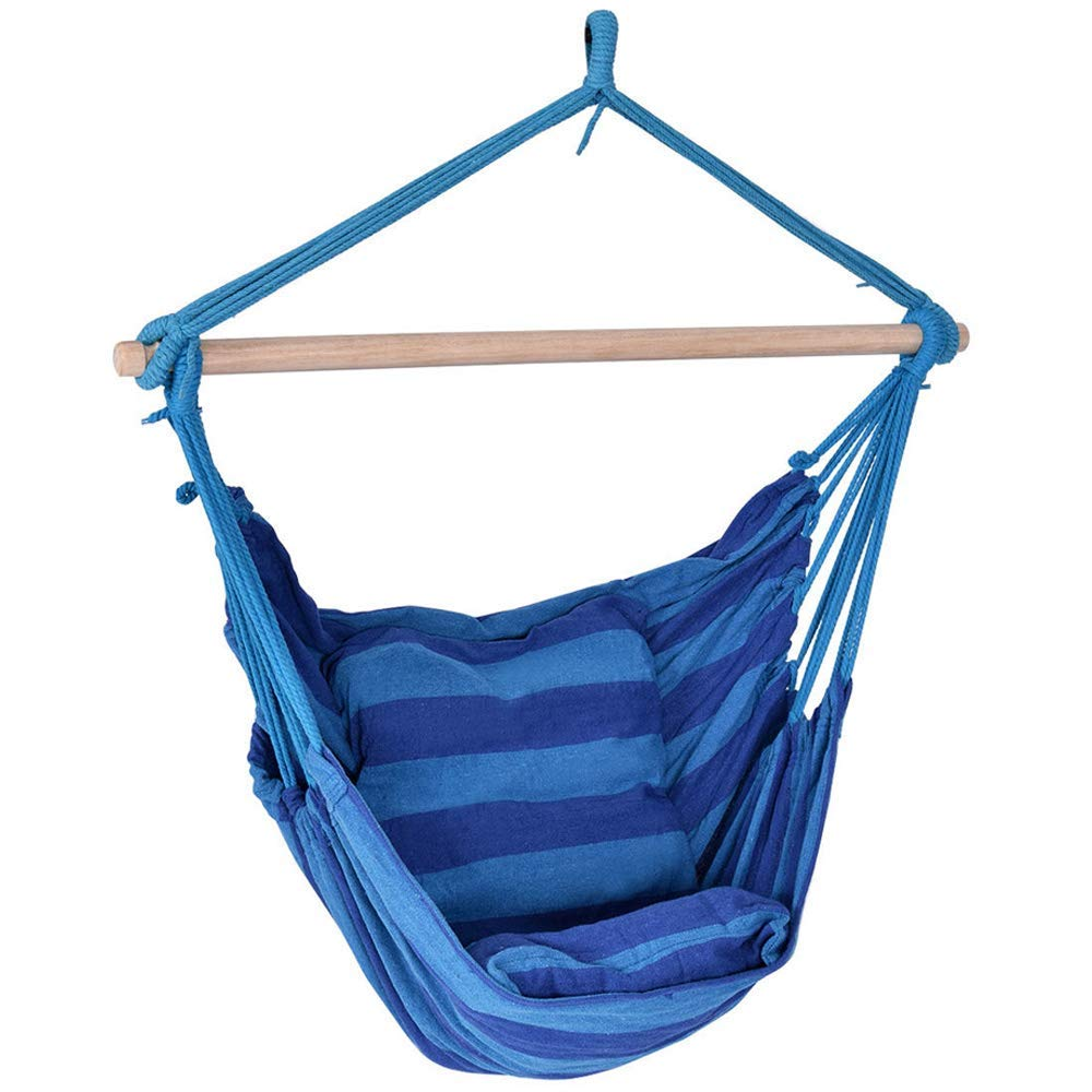 """V-Top-Shop Deluxe Hammock Rope Chair Tree Hanging Air Swing Patio Porch Yard Outdoor - Blue - 47"""" x 40"""" - Weight Capacity: 260 lbs"""