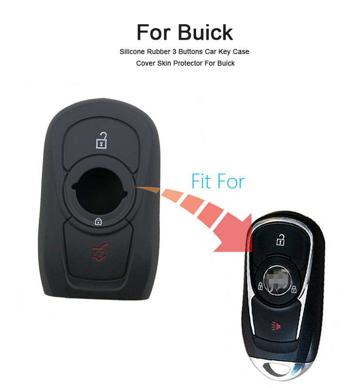 AS077003 Silicone Rubber 3 Buttons Car Key Case Cover Skin Protector For Buick