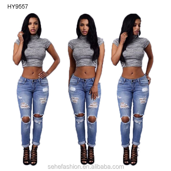denim fabric ripped jeans women long pant factory price