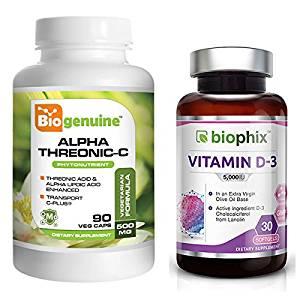 Alpha-Threonic-C Phytonutrients 90 Vcaps - Free Vitamin D-3 5000 IU 30 Softgels