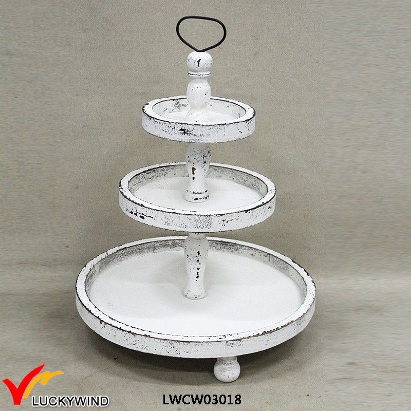 Top Manmade White Round 3 Tiers Shabby Chic Wooden Tray Stand - Buy  BH85