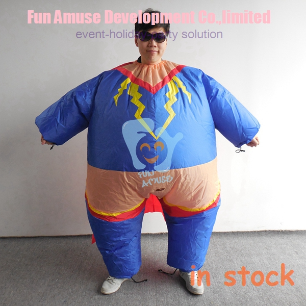 halloween fat adult super hero inflatable man costume