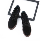 US Size 13 Rubber Sole Mens Black Suede Skateboard Sneakers Vulcanized Shoes
