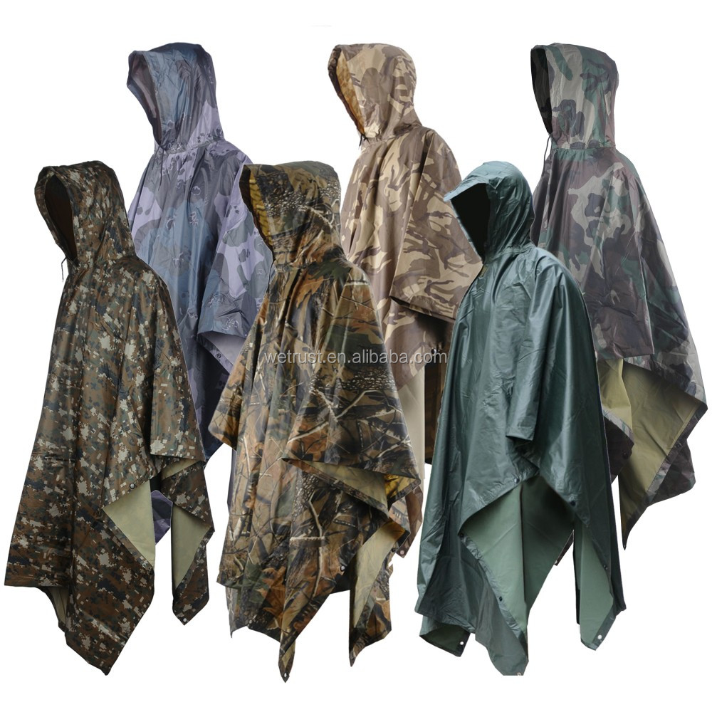 Outdoor Poncho Raincoat Backpack Rain Cover Waterproof Tent Mat Camping Hike Military Camouflage Raincoat