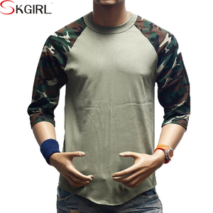 Adult men's baseball christmas wholesale custom camo raglan blank t shirts
