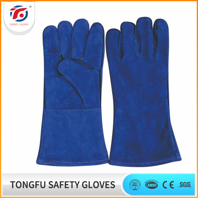13 14 16 inch Long red cow split leather welding gloves